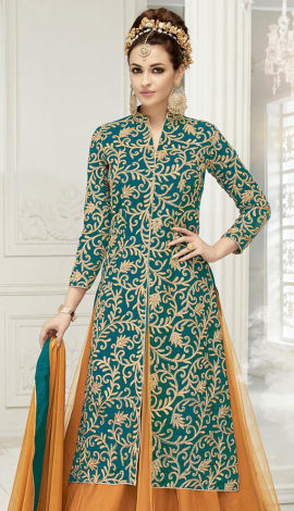 Green & Beige Semi Georgette Salwar Kameez