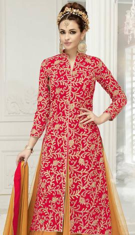 Red & Beige Semi Georgette Salwar Kameez