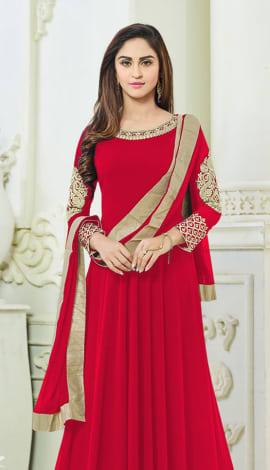 Red Semi Georgette Salwar Kameez