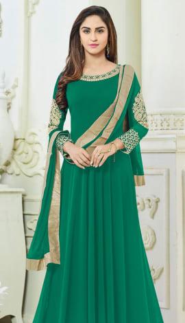 Green Semi Georgette Salwar Kameez