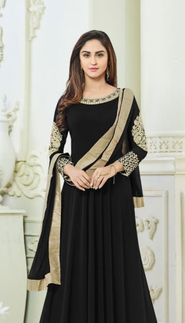 Black Semi Georgette Salwar Kameez