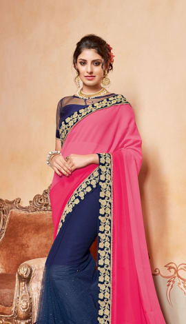 Pink & Blue Chiffon And Georgette Saree
