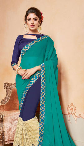 Turquoise & Blue Chiffon And Georgette Saree