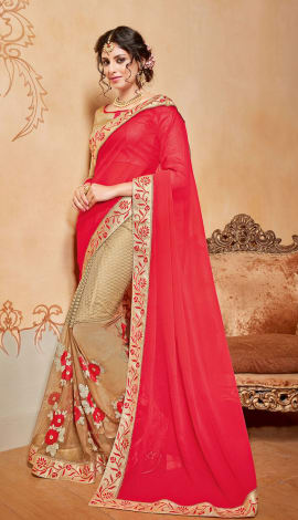 Red & Beige Chiffon And Net Saree