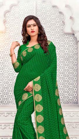 Green Georgette Saree