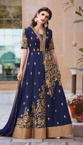 Navy Blue Taffeta Silk Salwar Kameez