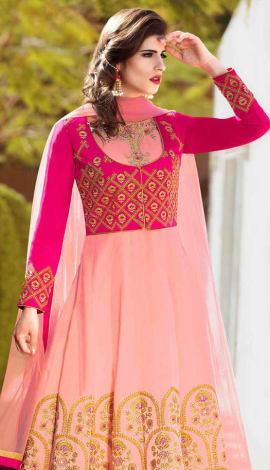 Pink Banglori Silk With Banarasi Silk Koti Salwar Kameez