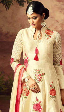 Cream Art Silk Salwar Kameez