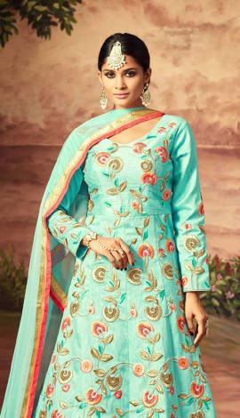 Aqua Blue Art Silk Salwar Kameez