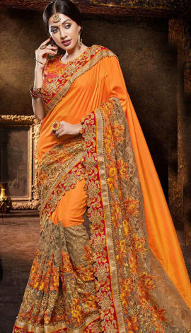 Orange Silk And Jacquard Saree