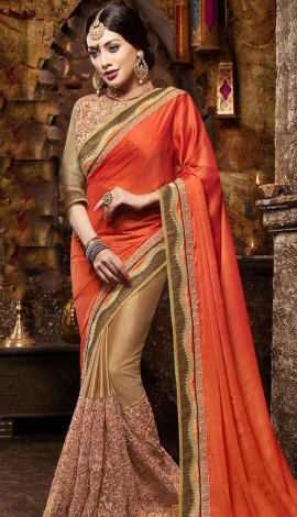 Peach & Brown Satin And Net Saree