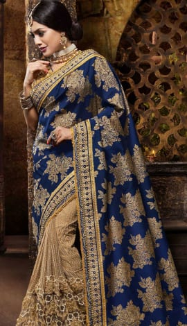 Blue & Gold Silk Jacquard Saree