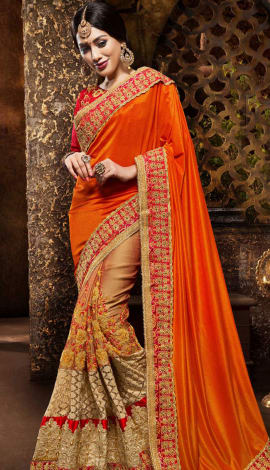 Orange & Beige Georgette Saree