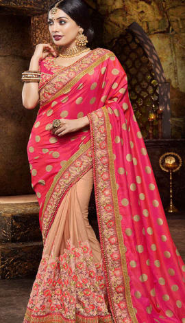 Pink & Beige Jacquard And Lycra Saree