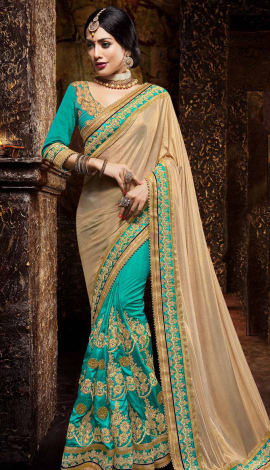 Beige & Cyan Lycra And Silk Saree