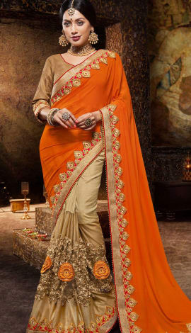 Orange & Gold Georgette And Silk Net Saree