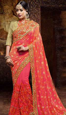 Pink Gerogette And Jacquard, Saree