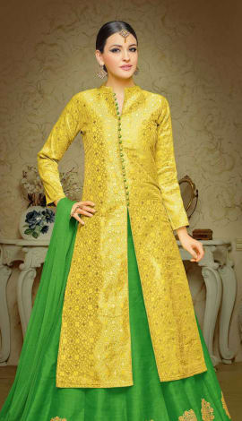 Yellow Brocade Lehenga