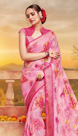 Pink Georgette Saree