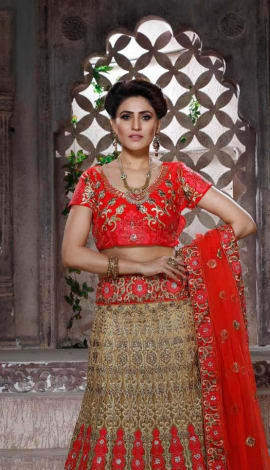 Lehenga : Red & Gold, Blouse/Choli : Red, Dupatta Lehenga : Banglori Silk, Choli/Blouse : Banglori S Lehenga