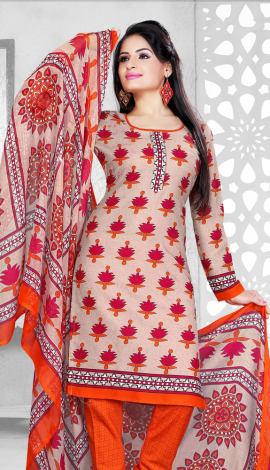 Red & Orange Cotton Salwar Kameez