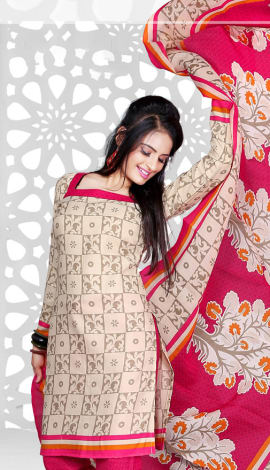 Cream & Pink Cotton Salwar Kameez
