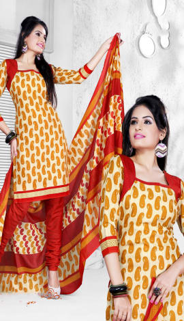 Orange & Red Cotton Salwar Kameez