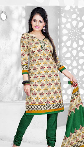 Cream & Green Cotton Salwar Kameez