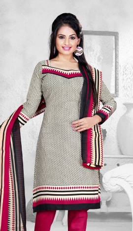 White & Black & Maroon Cotton Salwar Kameez