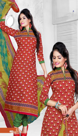 Red & Green Cotton Salwar Kameez
