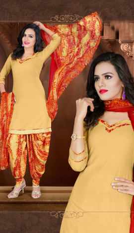 Light Orange Crepe Salwar Kameez