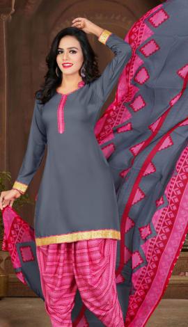 Gray & Pink Crepe Salwar Kameez