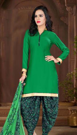 Green Crepe Salwar Kameez