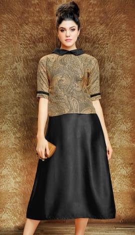 Black And Beige Wallnet Silk+Manoji Silk Kurti