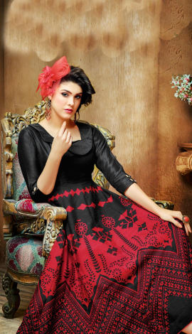 Red And Black Wallnet Silk+Manoji Silk Kurti