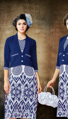 Blue And White Wallnet Silk+Manoji Silk Kurti