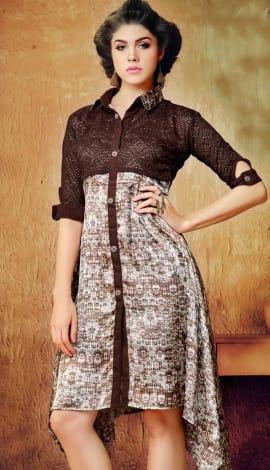 Brown And White Wallnet Silk+Manoji Silk Kurti