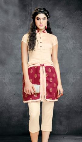 Cream And Red Wallnet Silk+Manoji Silk Kurti