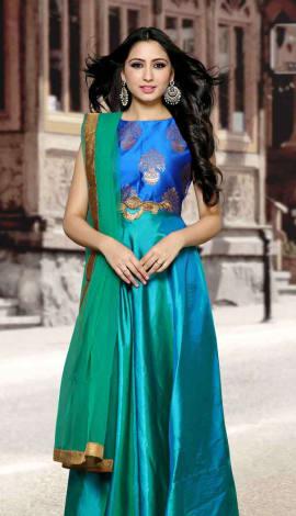 Blue & Green Paper Silk Salwar Kameez