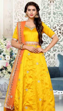 Mustard Pure Banglori Silk Salwar Kameez