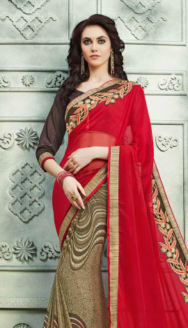 Red & Brown, Georgette Saree