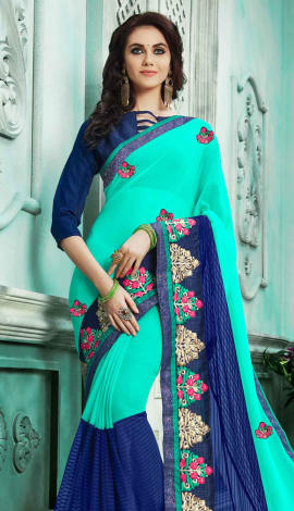 Turquoise & Blue Georgette Saree