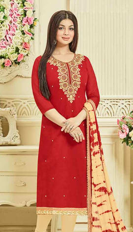 Red Chanderi Silk Salwar Kameez