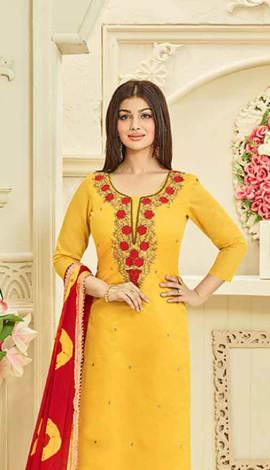 Yellow Chanderi Silk Salwar Kameez