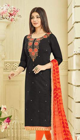 Black Chanderi Silk Salwar Kameez