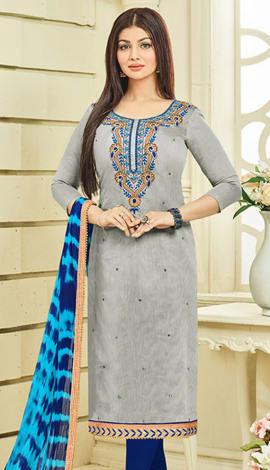 Grey Chanderi Silk Salwar Kameez