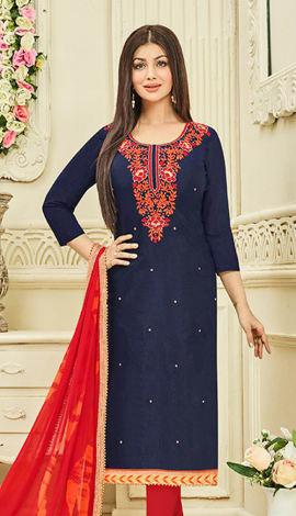 Navy Blue Chanderi Silk Salwar Kameez
