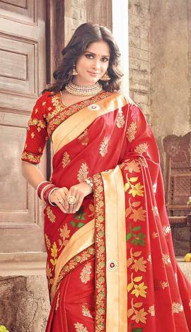 Red Banarasi Pure Silk Saree