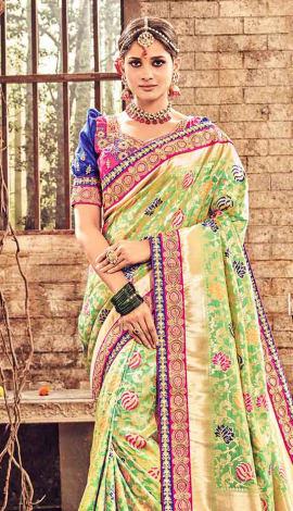Golden Banarasi Pure Silk Saree