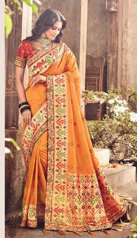 Yellow Banarasi Pure Silk Saree